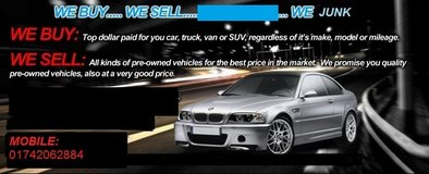 Attention !!!  We Buy ALL USED CARS Trucks, van ,or any  cars you want to sell and in any condtion in Spangdahlem, Germany