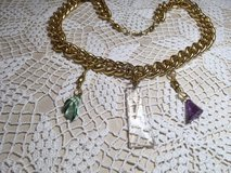 Necklace Repurposed Vintage Pieces Glass Crystal Prisms Large Gold Chain Much More Read Description in Kingwood, Texas