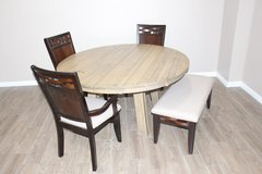 Beautiful Dining Table with 3 solid wood chair and Bench in Spring, Texas