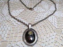 Vintage Pendant on Great Chain Hand Painted Flowers Silver Rope Chain Sturdy in Kingwood, Texas