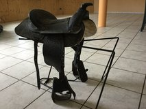 Child's Leather Saddle with Stand in Ramstein, Germany