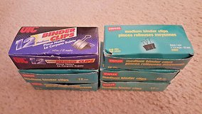 """6 BOXES) 12 UIC & Staples Medium Binder Clips 1-1/4""""x5/8"""" OFFICE SUPPLIES LOT in Naperville, Illinois"""