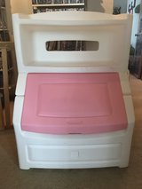 Pink white toy box with book shelf in New Lenox, Illinois