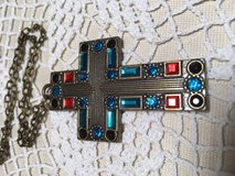 Cross Necklace Antique Bronze Colored Crystals Large in Kingwood, Texas