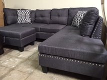 INVENTORY SALE! URBAN LINEN SOFA CHAISE SECTIONAL WITH PILLOWS + XL STORAGE OTTOMAN:) in Vista, California