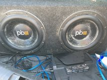 """2 10"""" subs with box, amp, wires in Camp Pendleton, California"""
