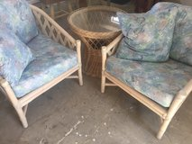 2 wicker chairs and table in Yucca Valley, California