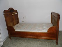 Antique Biedermeier single bed Cherrywood from 1890 with carvings in Wiesbaden, GE