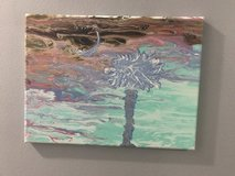 Hand made Pour Painting w/ palm and moon design in Beaufort, South Carolina