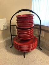 Fiesta red plate and bowl set with plate rack in Fort Bragg, North Carolina