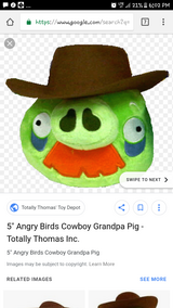 angry birds cowboy pig plush in Plainfield, Illinois