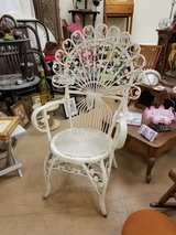 Rare Awesome White Fan Back Peacock Wicker chair in Chicago, Illinois