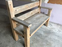 Solid oak bench in Sandwich, Illinois