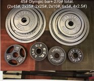 Olympic bar (45#) + 270# weight plates in Okinawa, Japan