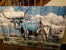 "Blue Longhorn 50""x40"" Farm Barn Bull Rustic Cowboy Ranch Country Pasture Cow Leather Steer Large... in Kingwood, Texas"