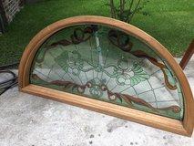 "Window arch stain glass 75"" x  36"" mahogany wood in The Woodlands, Texas"