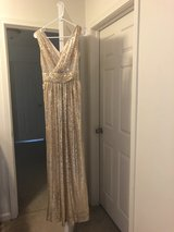 Gold sequin gown in Fort Lewis, Washington