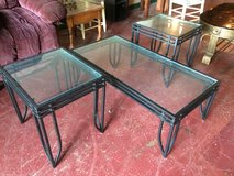 3 Pc Wrought Iron / Glass Coffee and End Table Set in Leesville, Louisiana