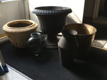 Pot/Urn Planter/Vases - Urn Black Planter, Solid Brass, Heavy Terra Cotta, Tin and Glass Vase (5) in Cleveland, Ohio