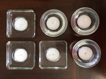Glass votive holders with candles in New Lenox, Illinois