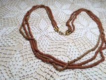 Necklace Brown Wooden Hishi Beads Three Strands Different Shades Vintage Mint Condition Lightweight in Kingwood, Texas