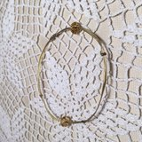 Gold Wire Bracelet Vintage Dainty Swarovski Crystal Accents Champagne Color Sturdy in Houston, Texas