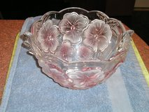 Crystal Bowl  with Pink Flower Design in New Lenox, Illinois