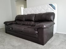 Expresso Leather Couch w/ Serta Full Mattress in Vista, California