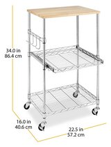 Whitmor Supreme Microwave Cart with Locking Wheels - Chrome with Food Safe Cutting Board in Oswego, Illinois