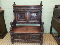 Stunning Carved Oak Bench with Tavern Scenes Free Delivery in Lakenheath, UK