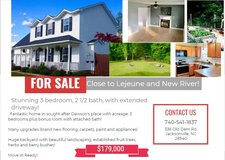 For Sale by Owner! Stunning 3 bedroom, 2 1/2 bath with extended driveway and large garden! in Camp Lejeune, North Carolina