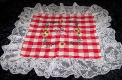 Vintage Hand Embroidered Red & White Gingham Pillow Sham with Lace in Alamogordo, New Mexico