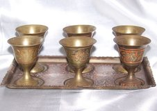 Vintage Brass - 6 Small Cups with Tray Set in Alamogordo, New Mexico