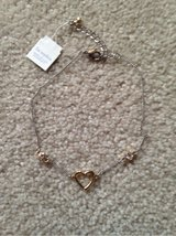 Ankle Bracelet - Silver chain w/ Gold Heart and Crystals in Bolingbrook, Illinois