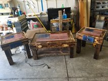 hand crafted american flag coffee table set in Camp Lejeune, North Carolina