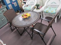 Wicker Glass Top Patio Table With 2 Chairs in Camp Lejeune, North Carolina