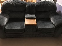 Blue Loveseat w/center console and footrests in Yorkville, Illinois