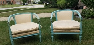 Pair of retro weathered blue  chairs in Bolingbrook, Illinois