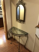 Foyer glass table and mirror in Naperville, Illinois