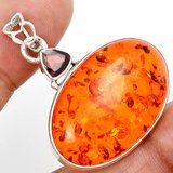 New - Amber and Garnet 925 Sterling Silver Pendant (Includes a chain) in Alamogordo, New Mexico