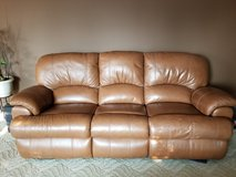 Reclining leather sofa, loveseat and chair in St. Charles, Illinois