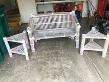 wicker/bamboo loveseat and end tables in Naperville, Illinois