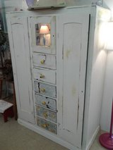 Wardrobe Vintage White Painted Wood 1461-73 in Camp Lejeune, North Carolina