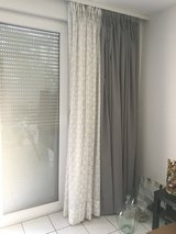 4 Curtains/Drapery Panels with hooks (Ikea), Grey & White/grey spotted in Ramstein, Germany
