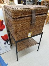 Wicker Filing Trunk on Metal Stand 1461-84 in Wilmington, North Carolina