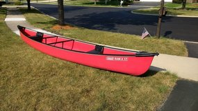 Red canoe in Plainfield, Illinois