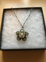 """Lia Sophia silver and black flower necklace- 18"""" in Shorewood, Illinois"""