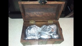 treasure chest with silver painted rocks in Alamogordo, New Mexico