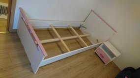 Kids bed and naight stand, white/pink in Wiesbaden, GE
