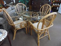 BAMBOO GLASS TOP TABLE & 4 CUSHION CHAIRS in Cherry Point, North Carolina